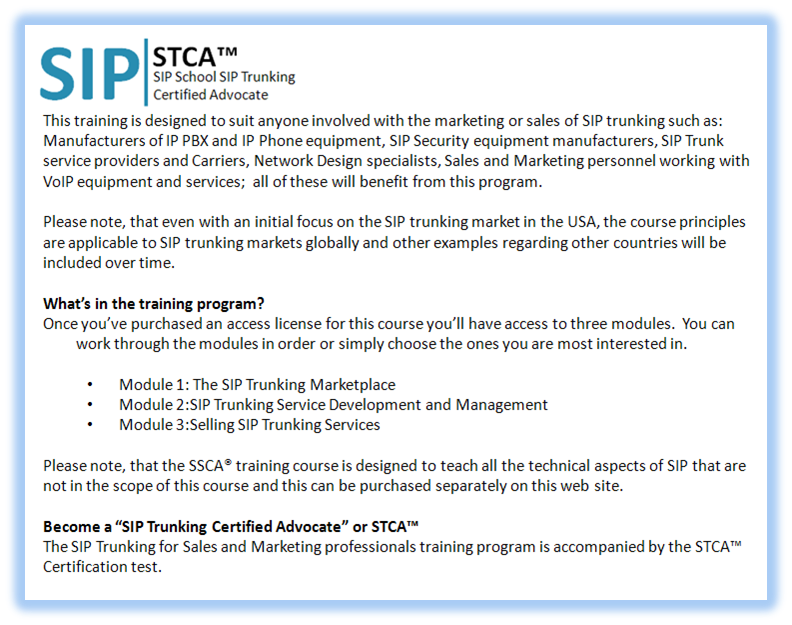 SIP Training and SSCA® Certification -